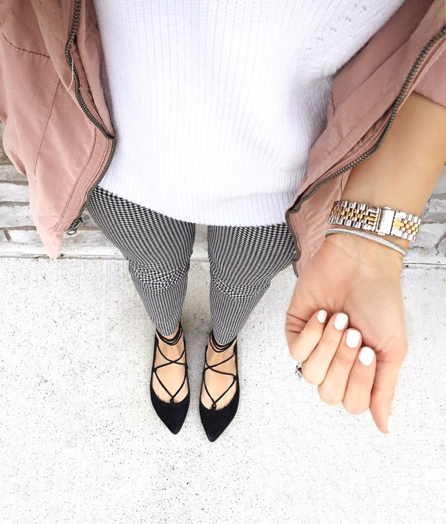 Blush-Coat-Gingham-Pants-Lace-Up-Flats