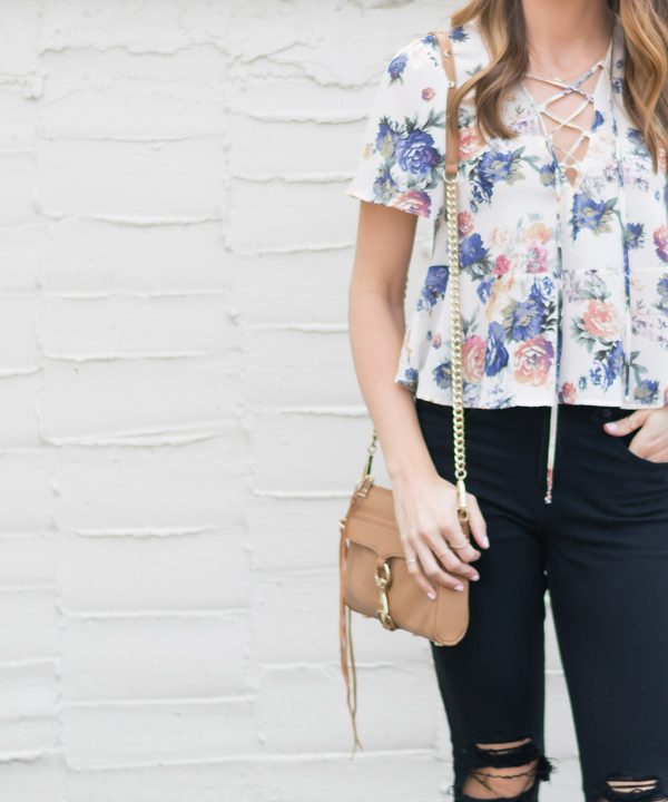 Floral-Peplum-Lace-Up-Top