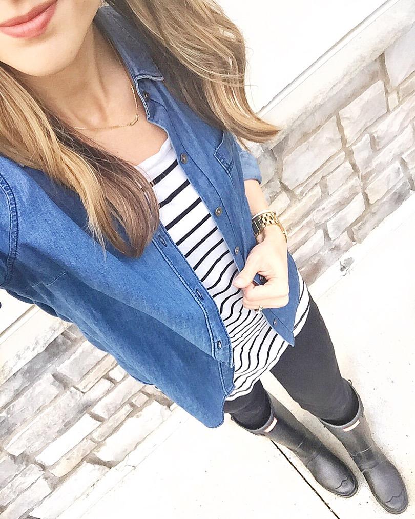 Chambray-Stripe-Shirt-Hunter-Boots