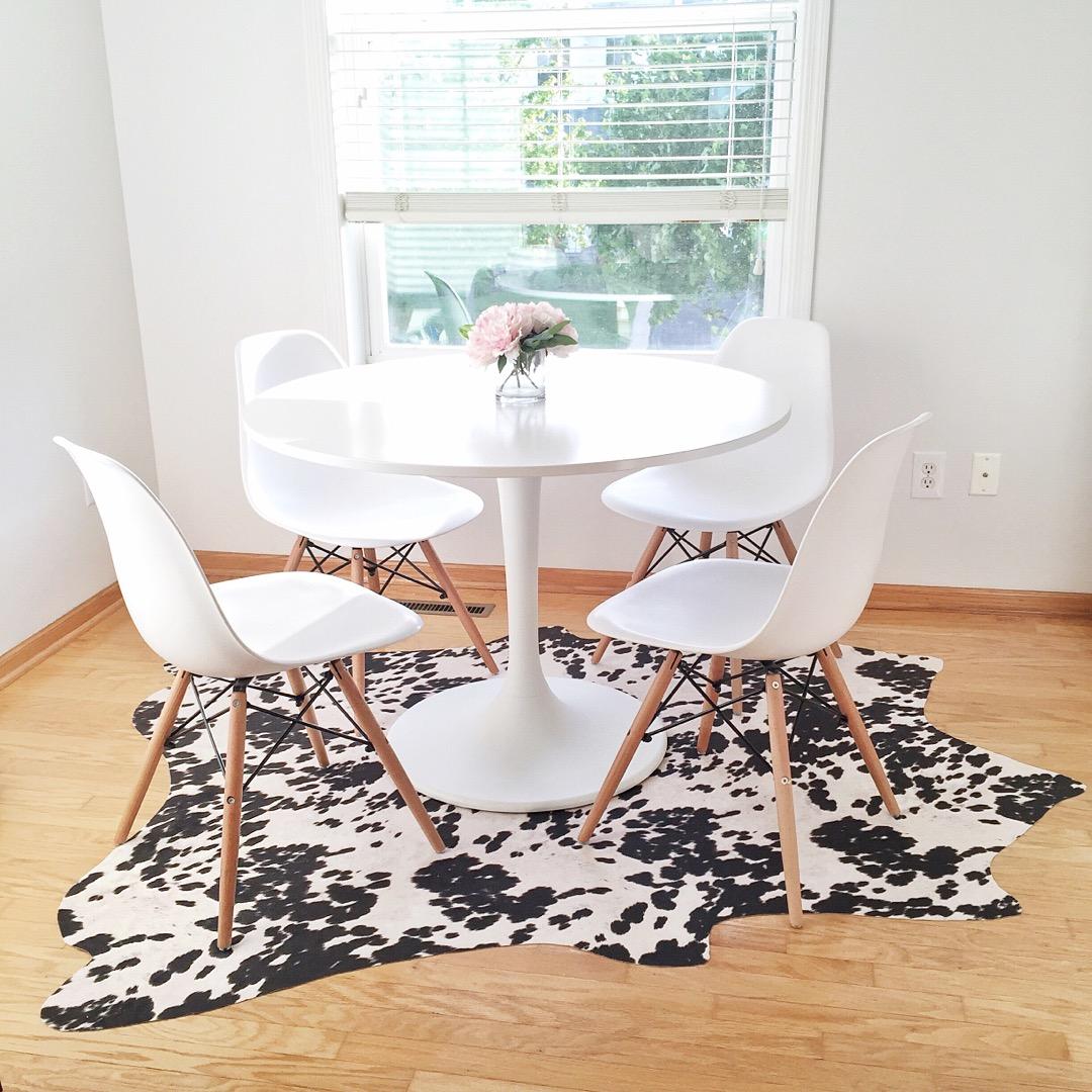 diy cowhide rug, ikea docksta table, aeon dining chairs, instagram recap, budget bright white kitchen