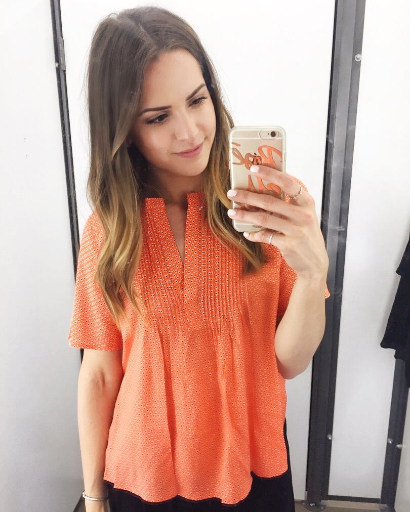 f9325a44b465f orange-old-navy-swing-pintuck-blouse - The Styled Press