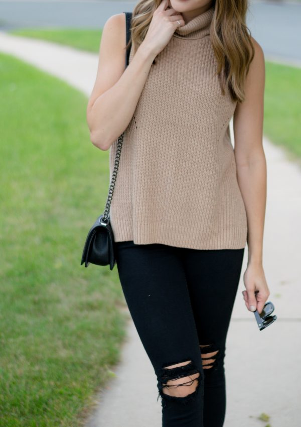 Sleeveless Cowl Neck Top, Sleeveless Turtleneck, Turtleneck Tank, Outfit, Summer to fall transition outfit, black ripped jeans