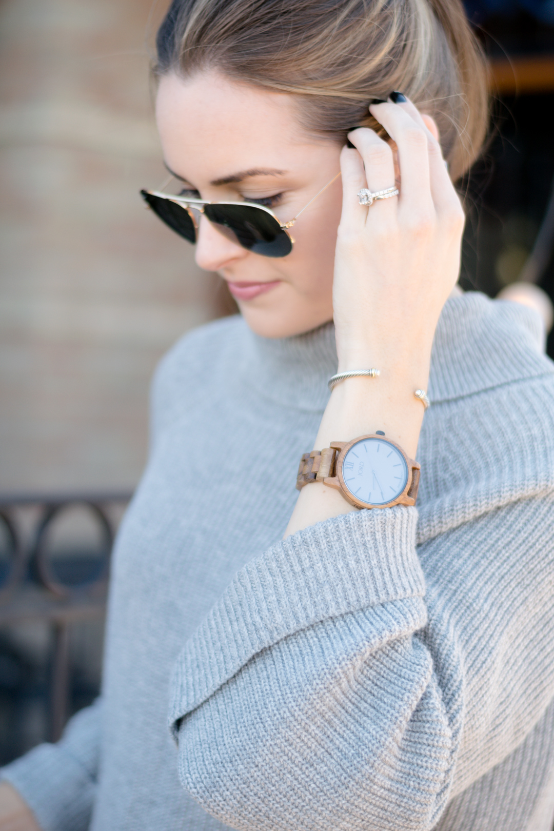 unique watch, cool watch, nordstrom leith cowl neck pullover, fall 2016 outfit, gray turtleneck outfit, wood watches, fall accessories, jord watch, frankie series watch