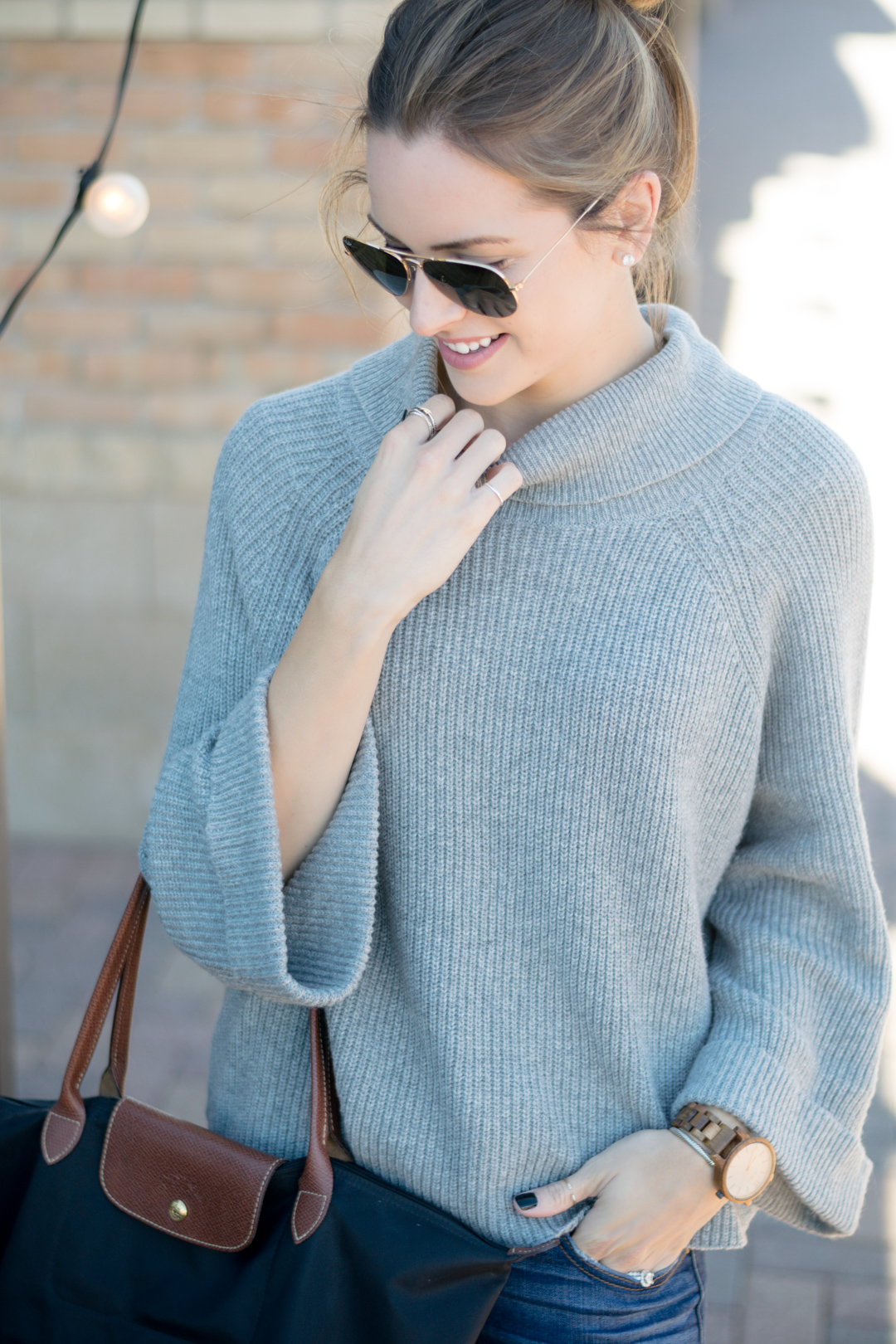 nordstrom leith cowl neck pullover, fall 2016 outfit, gray turtleneck outfit, wood watches, fall accessories, jord watch, frankie series watch, unique watch
