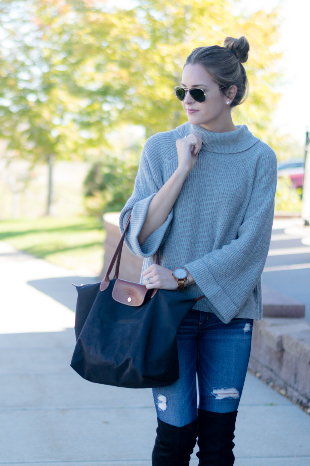 nordstrom leith cowl neck pullover, fall 2016 outfit, gray turtleneck outfit, wood watches, fall accessories, jord watch, frankie series watch