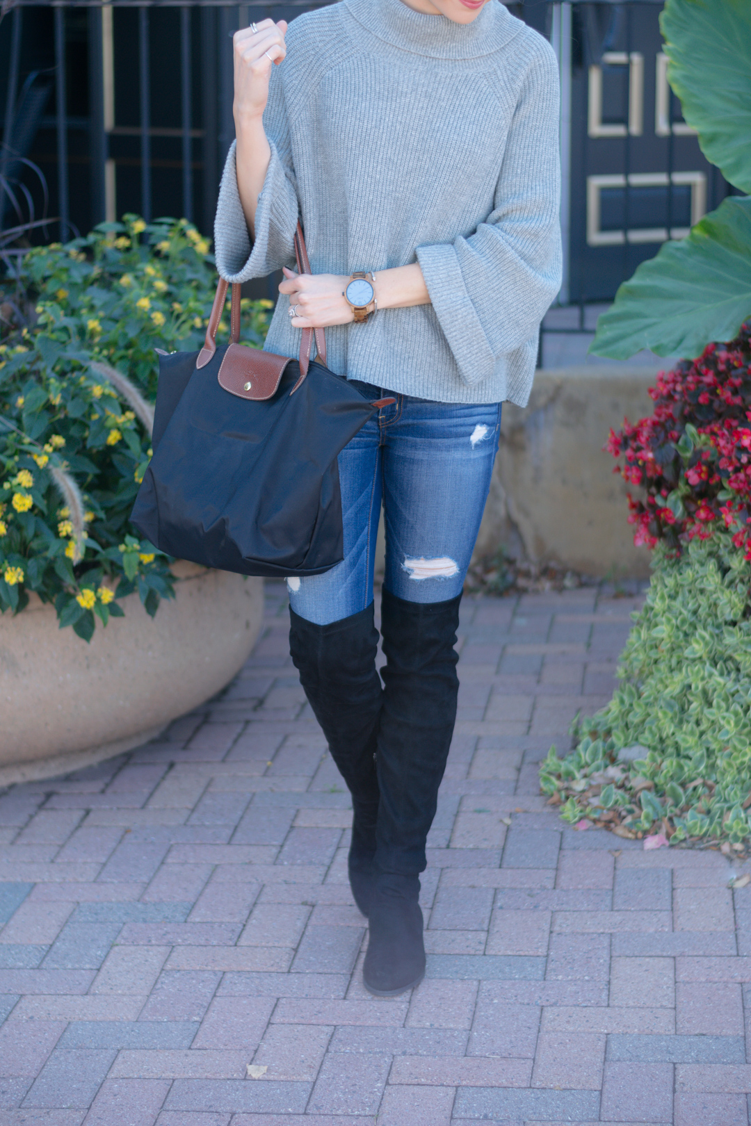 nordstrom leith cowl neck pullover, fall 2016 outfit, gray turtleneck outfit, wood watches, fall accessories, jord watch, frankie series watch, over the knee black boots
