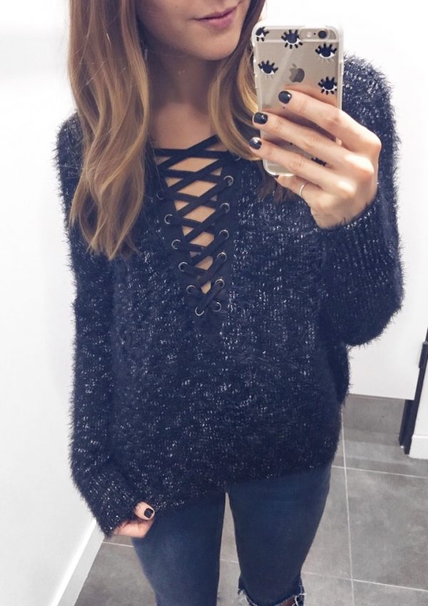 express hi-lo lace-up sweater