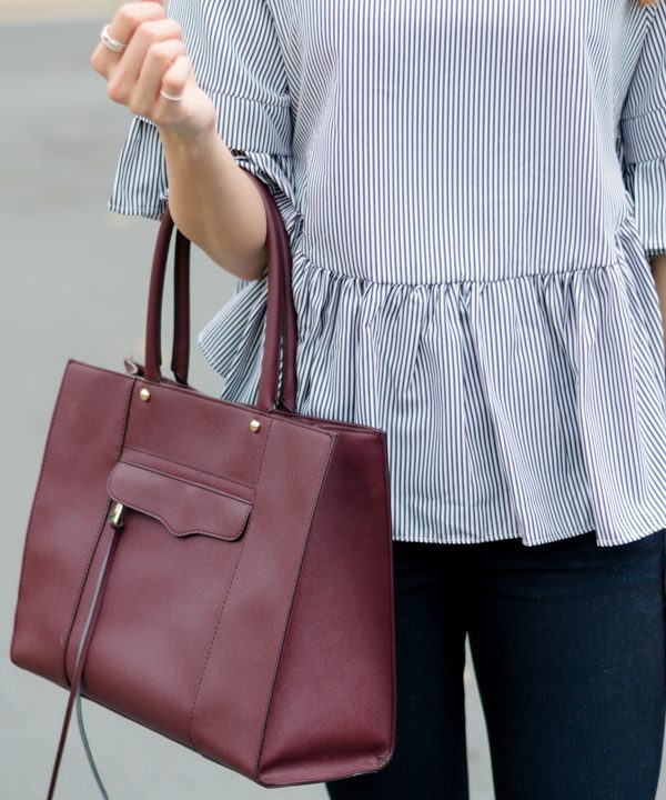 Striped Ruffle High-Low Top