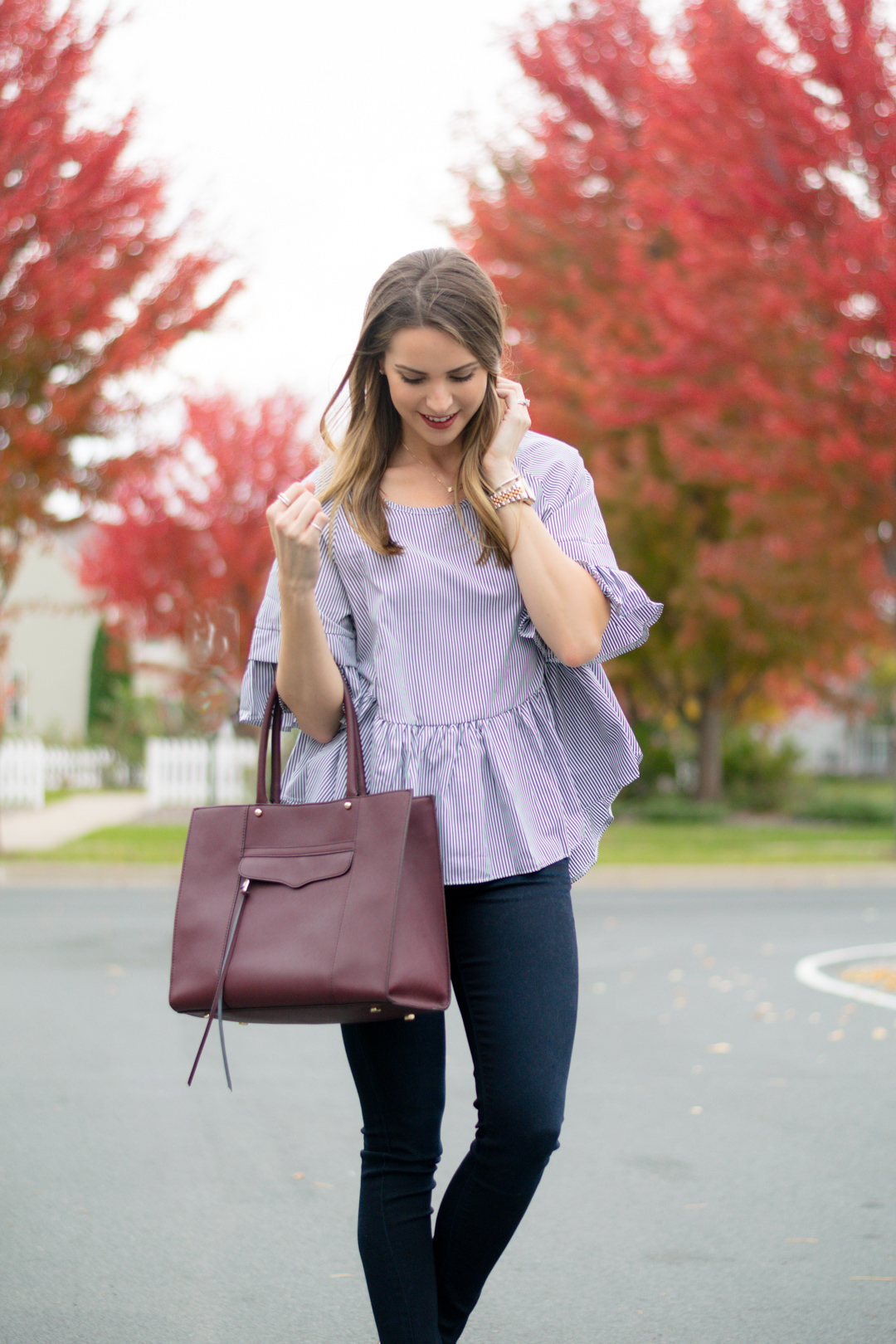 Striped Ruffle High Low Top The Styled Press