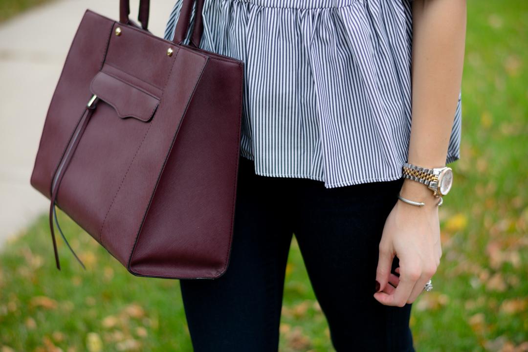 shein black vertical striped lattice-back ruffle high low top, striped peplum, maroon tote bag, fall 2016 outfit