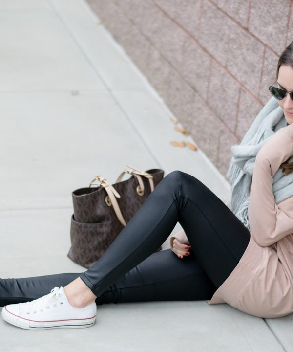shop the mint slouchy dolman tunic warm taupe, casual weekend outfit, leather leggings outfit, gray scarf outfit, white converse outfit