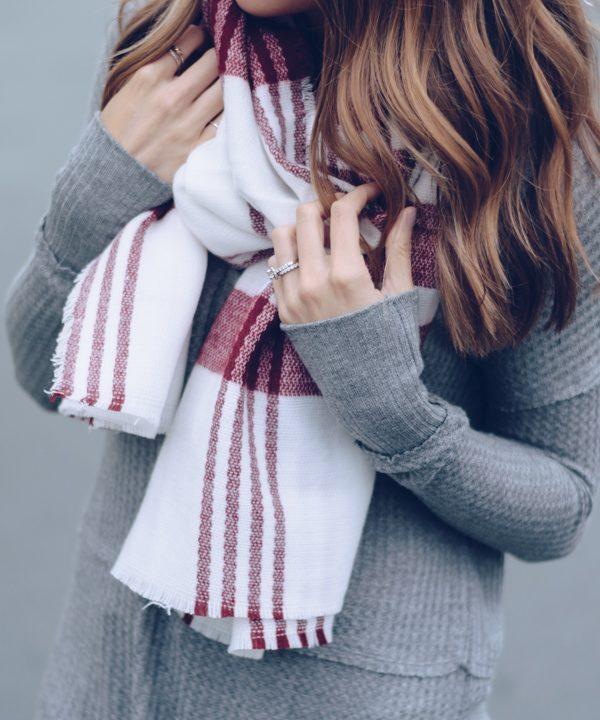 ilymix wine plaid tartan scarf, maroon blanket scarf, burgundy plaid scarf, womens long sleeve gray henley, affordable fall outfit