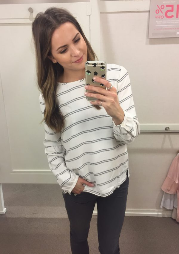 loft striped lantern sleeve blouse, striped top outfit 2016