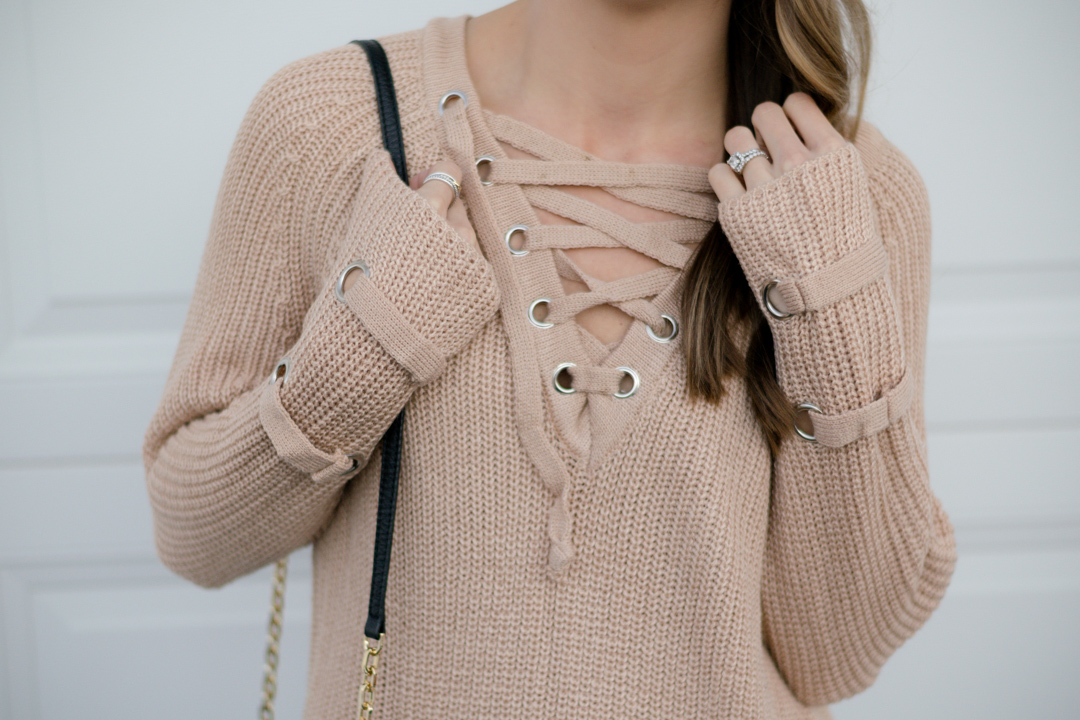 lace-up knit sweater, shein lace up v neck knit sweater dress, khaki lace up sweater, 2016 winter outfit