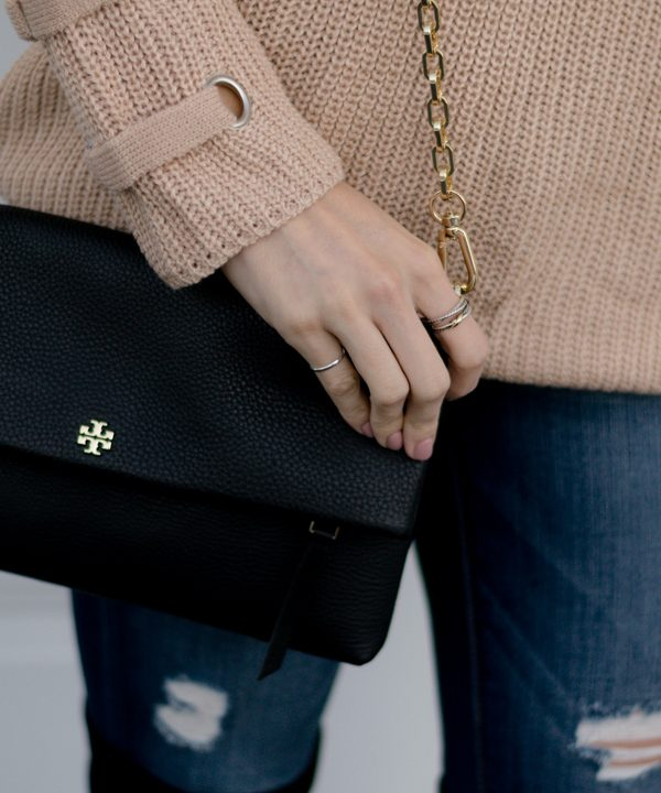 tory burch black foldover crossbody bag