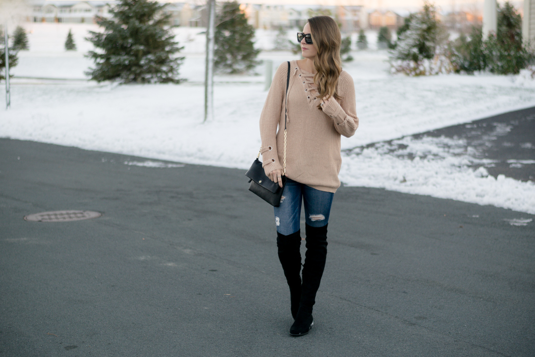 black over the knee boots outfit, lace up knit sweater, shein lace up v neck knit sweater dress, khaki lace up sweater, 2016 winter outfit