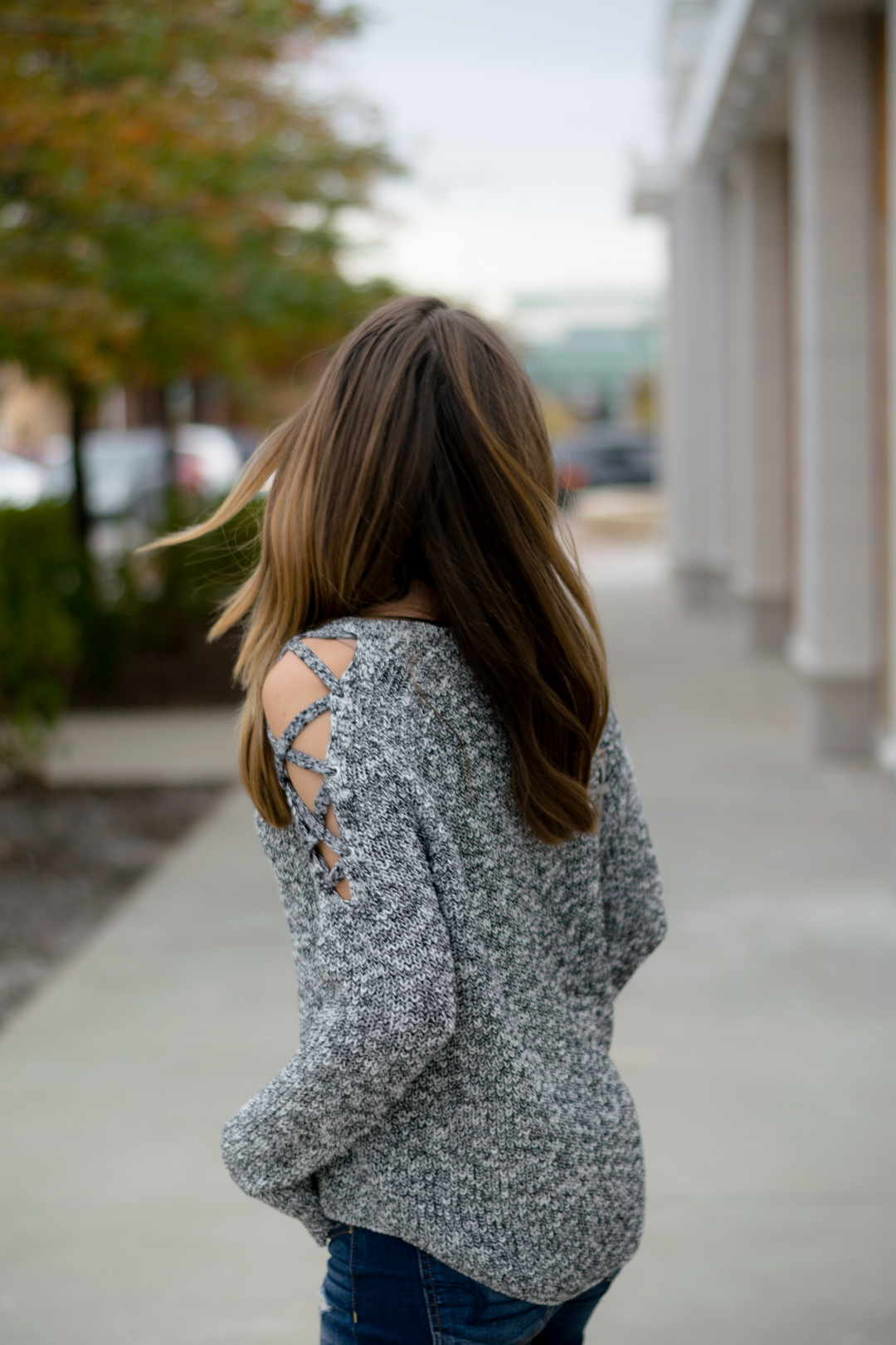 express lace up cold shoulder sweater, gray sweater outfit, peep toe booties, open toe booties, casual fall weekend outfit