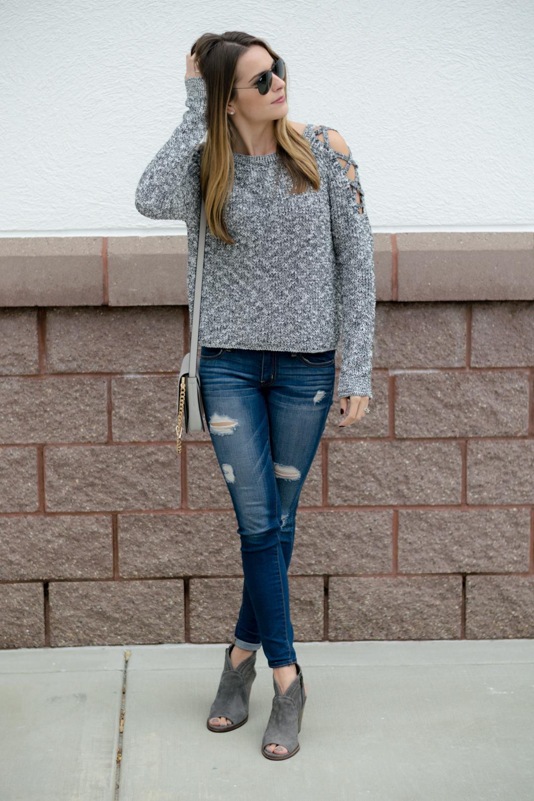 8e1d5e220e Lace-Up Cold Shoulder Sweater - The Styled Press