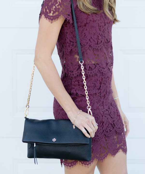 lulu's burgundy lace two piece dress, holiday dress, holiday style, winter style, holiday fashion, tory burch folder crossbody, blonde balayage hair