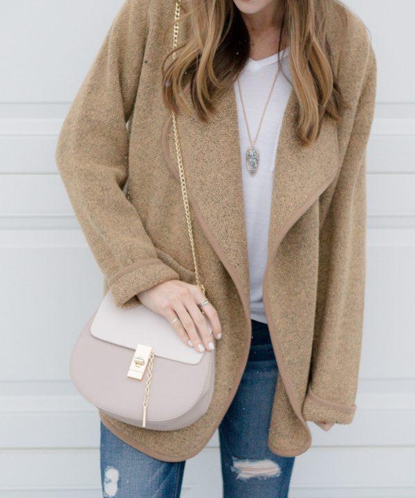 Drape Front Sweater Coat