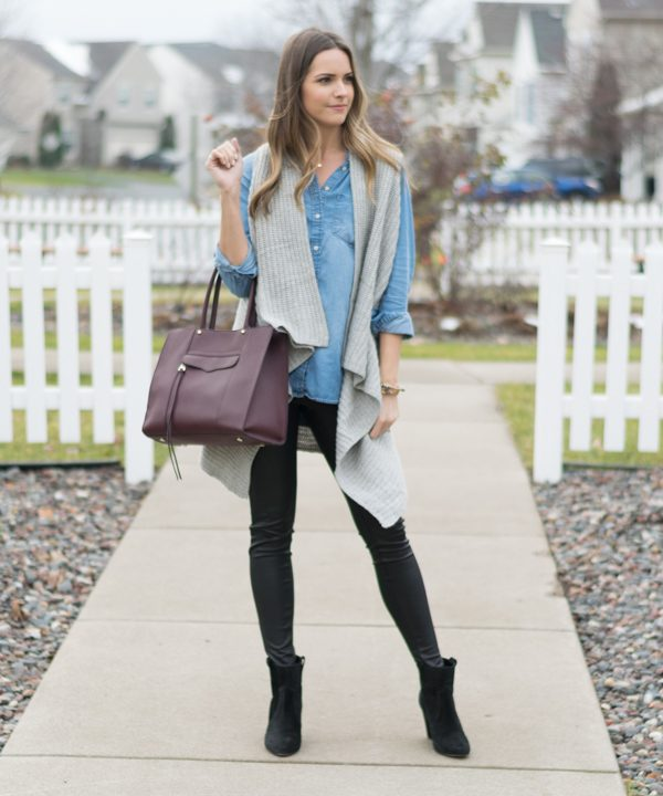 leather leggings outfit, chambray outfit, winter fashion, sweater vest, minneapolis blogger
