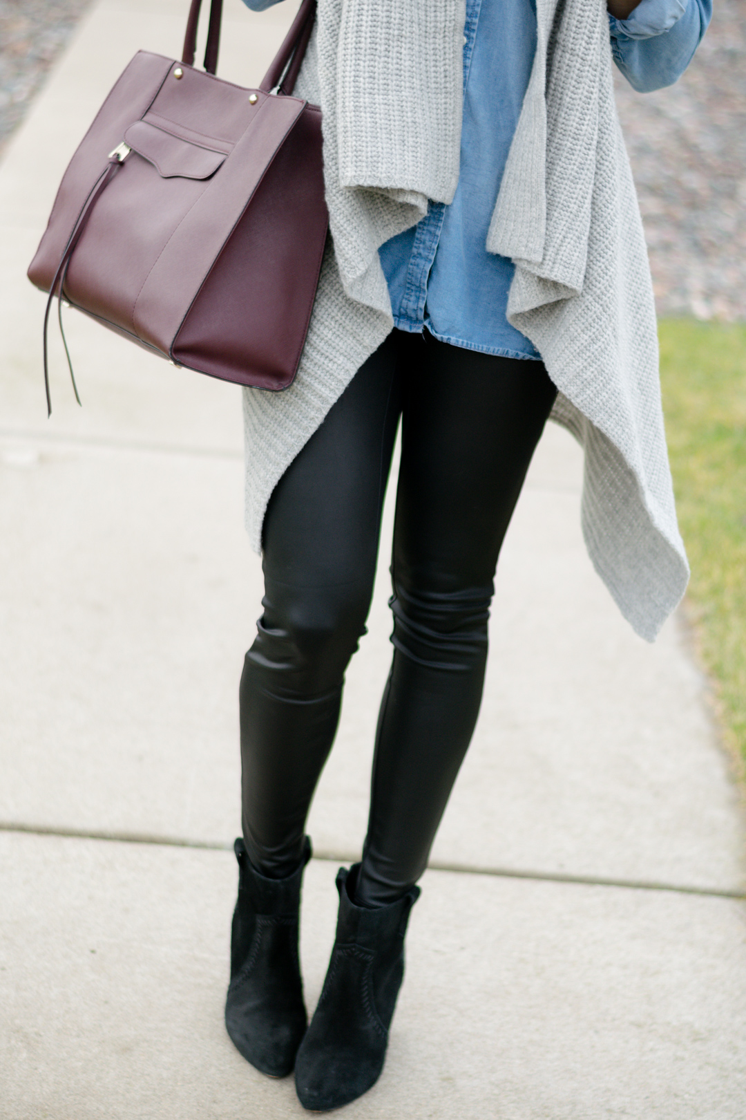 Chambray Leather Leggings The Styled Press