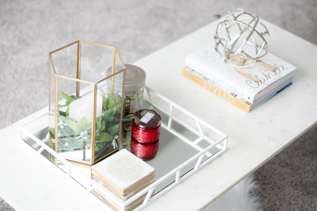 coffee tray table decor, marble table