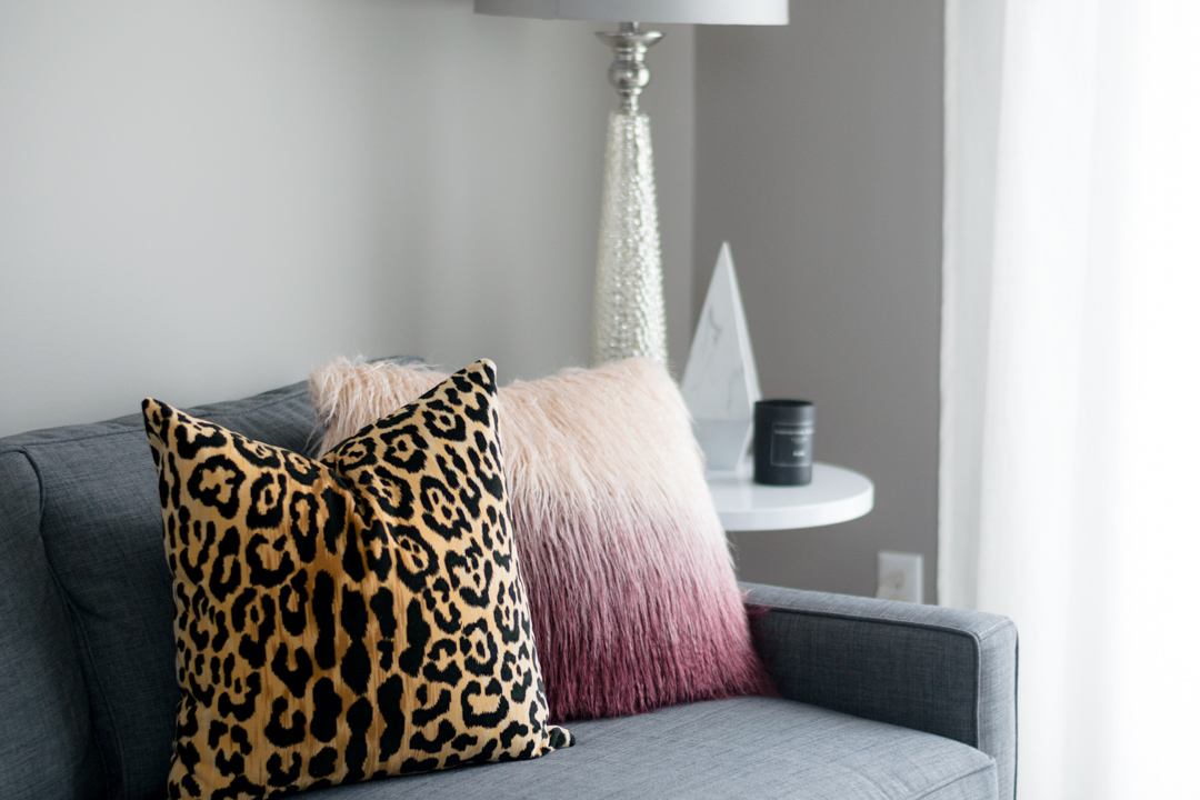 leopard throw pillow cover, blush faux fur