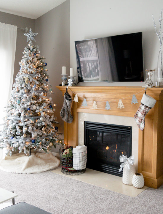 neutral christmas decor, flocked christmas tree, walmart