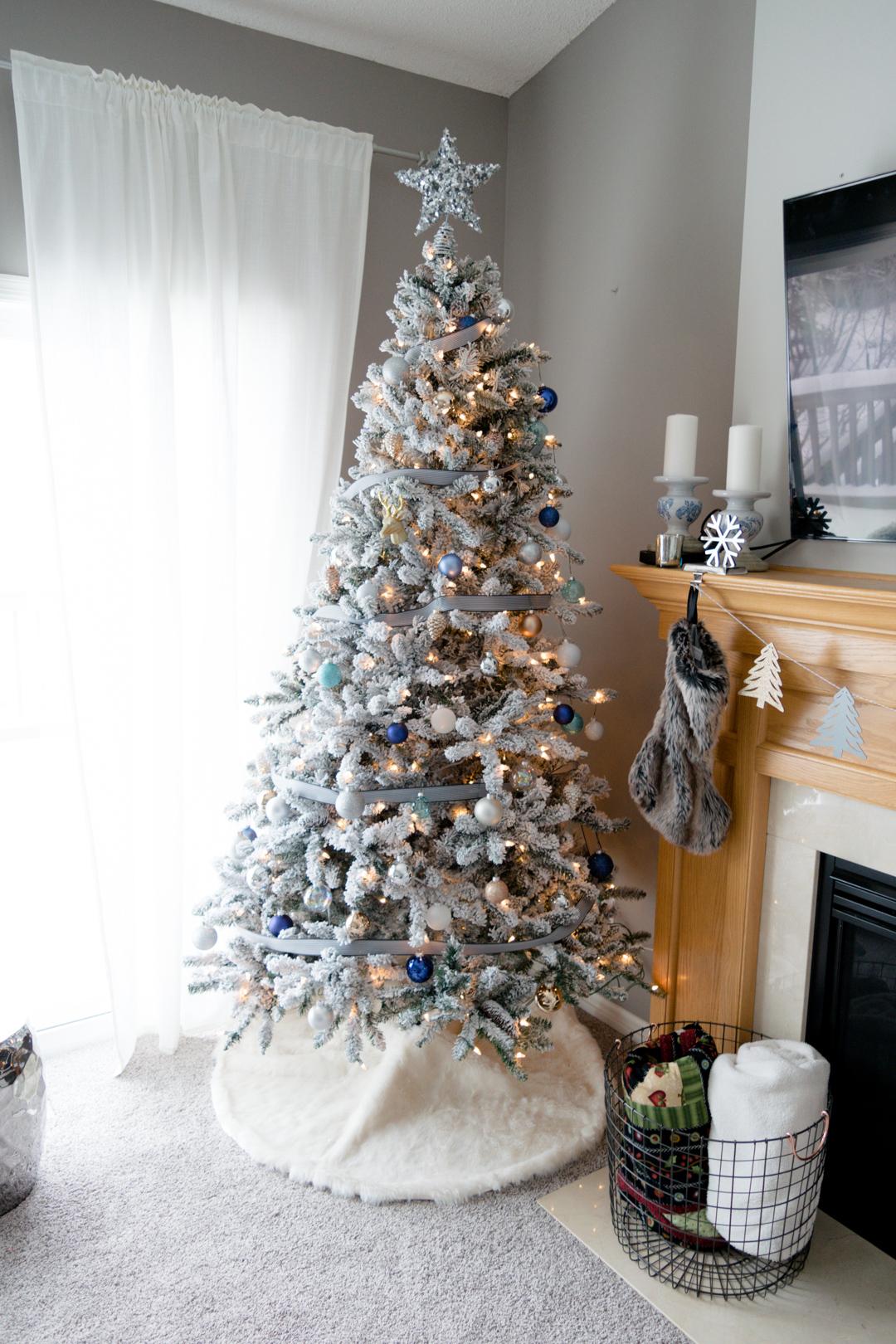 walmart flocked christmas tree, neutral christmas ornaments, stripe ribbon xmas tree