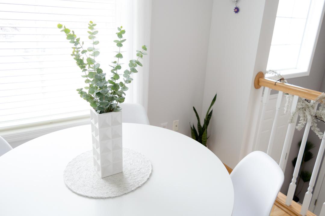 eucalyptus centerpiece, ikea docksta table style