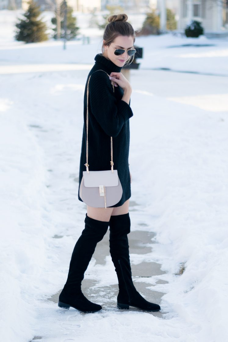 turtleneck sweater dress outfit, over the knee boots and dress outfit, black otk boots