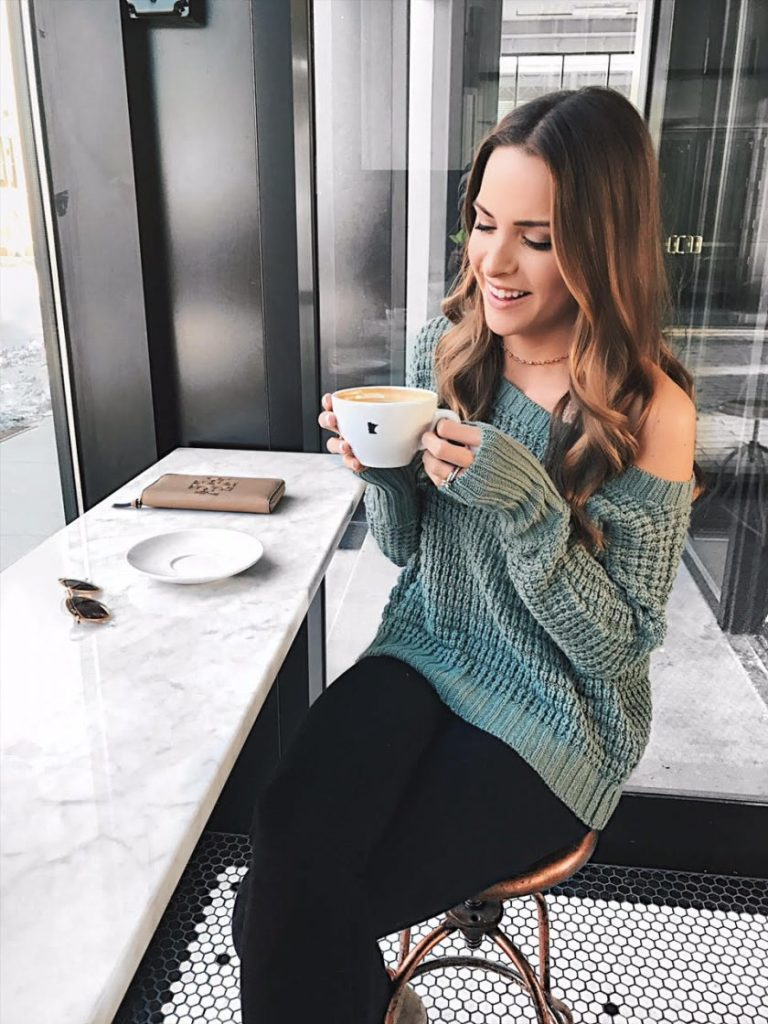 express thermal long sleeve dolman pullover sweater, off the shoulder knit sweater, chunky knit spring sweater, coffee shop outfit, winter lookbook, spring outfits