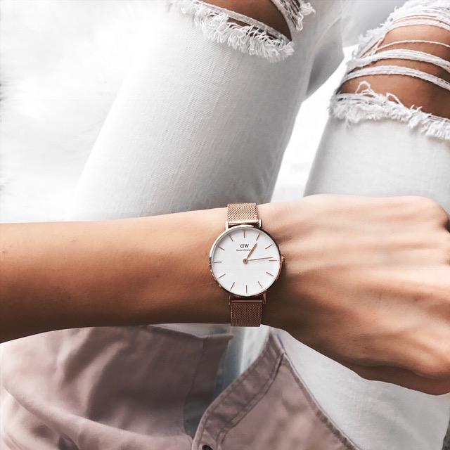 8791cfa3838 daniel wellington classic petite rose gold mesh band watch, white dial
