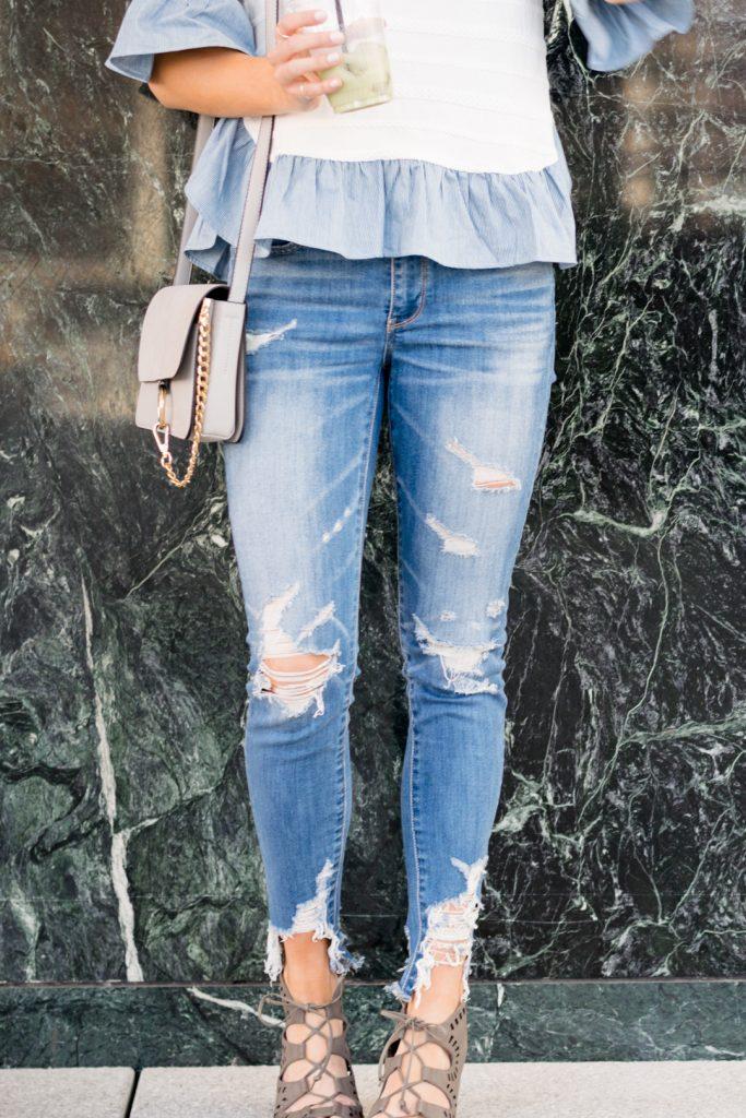 american eagle shredded raw hem jeans, minneapolis fashion blogger, mn style blogger