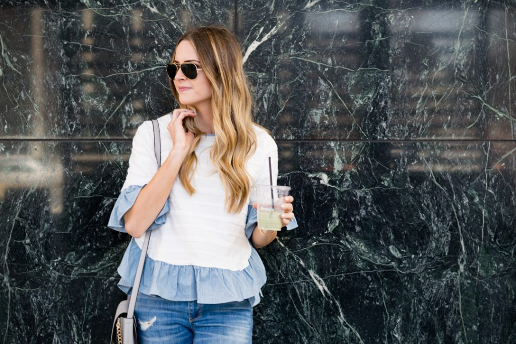shein ruffle top, classic ray-ban aviators outfit, minneapolis fashion blogger, mn style blogger
