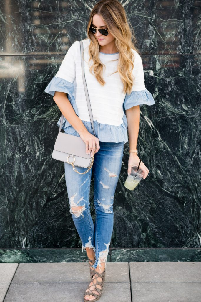 nordstrom bp lace up sandals, block heel sandals, american eagle shredded raw hem jeans, chloe crossbody dupe, shein ruffle top outfit, minneapolis fashion blogger, mn style blogger