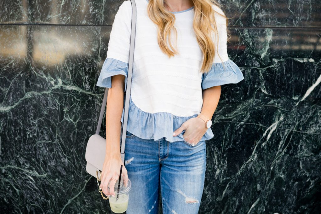 shein stripe ruffle sleeve top, minneapolis fashion blogger, mn style blogger, affordable fashion blogger, budget fashion