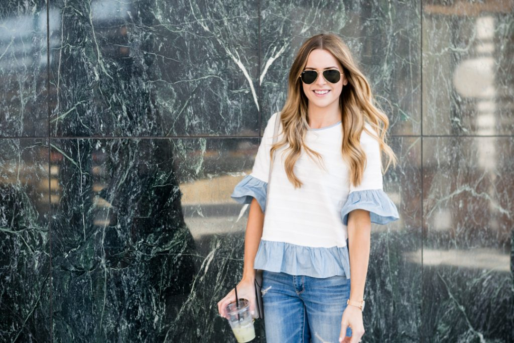 gold ray-ban classic aviators outfit, shein ruffle top, minneapolis fashion blogger, mn style blogger, budget fashion blogger, style blogger on a budget