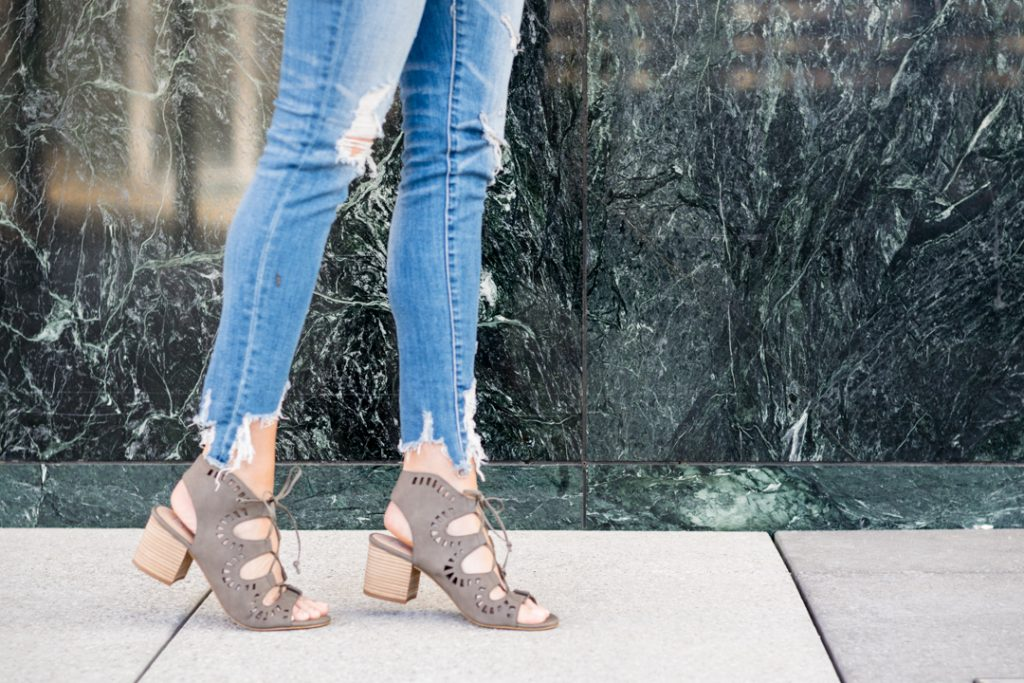 college girl outfits, nordstorm bp lace up decker sandals, small block heel sandal, minneapolis fashion blogger, mn style blogger