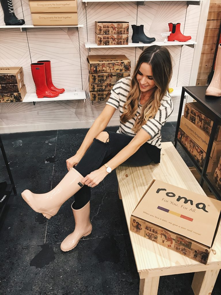 shop for kindness, roma boots, debut mall of America, blush pink Roma rain boots