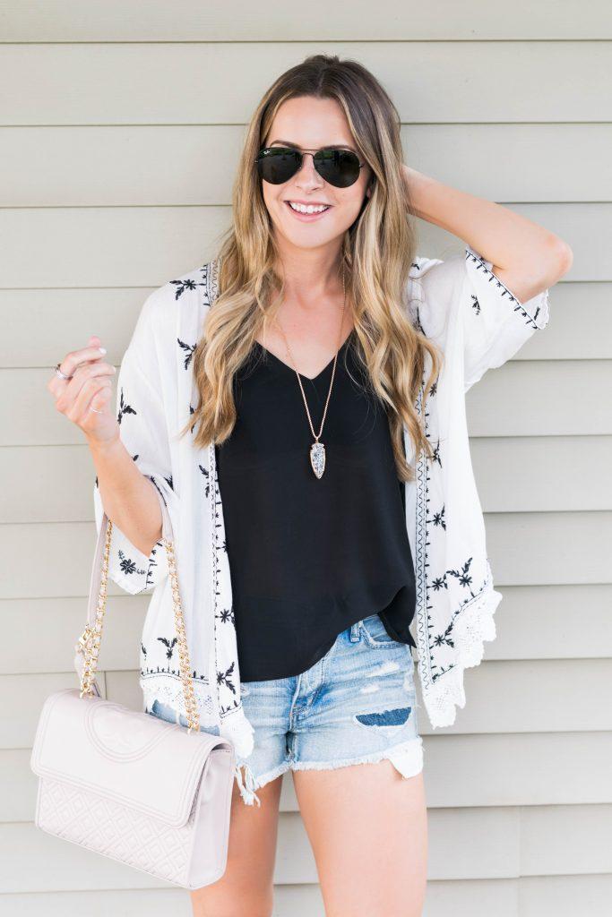 shein scalloped crochet embroidered kimono, black and white embroidered kimono, American eagle cut off shorts, summer 2017 outfits, Minneapolis fashion blogger