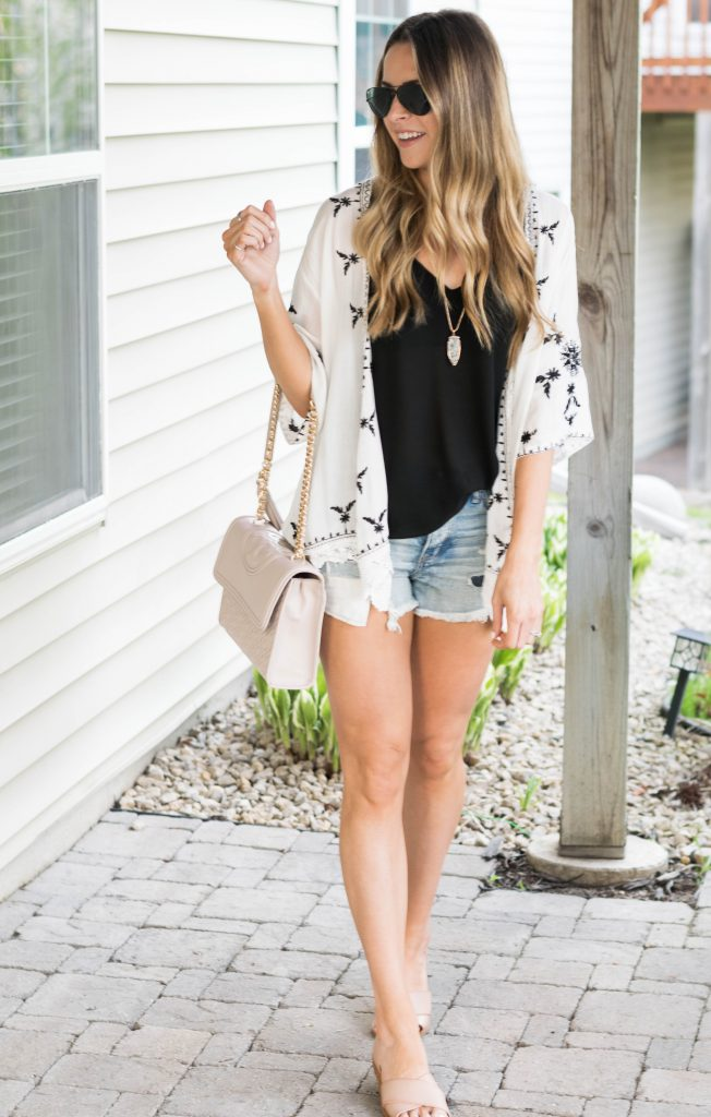 shein scalloped crochet embroidered kimono, black and white embroidered kimono, American eagle cut off shorts, summer 2017 outfits, Minneapolis fashion blogger, tory burch Fleming crossbody bag in bedrock