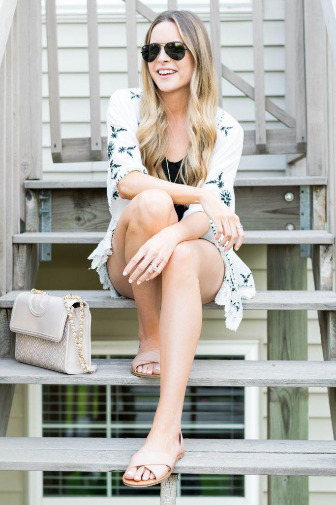 shein scalloped crochet embroidered kimono, black and white embroidered kimono, American eagle cut off shorts, summer 2017 outfits, Minneapolis fashion blogger, summer fashion
