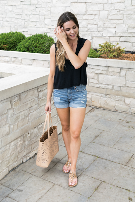 bralette outfit ideas, kohls candie's bralette, black bralette fashion, minneapolis fashion blogger, minnesota style blogger, free people baring it cami, Levi's 501 long denim shorts, tory burch miller sandal review