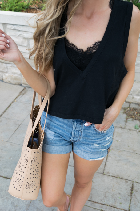 bralette outfit ideas, kohls candie's bralette, black bralette fashion, minneapolis fashion blogger, minnesota style blogger, free people baring it cami, Levi's 501 long denim shorts