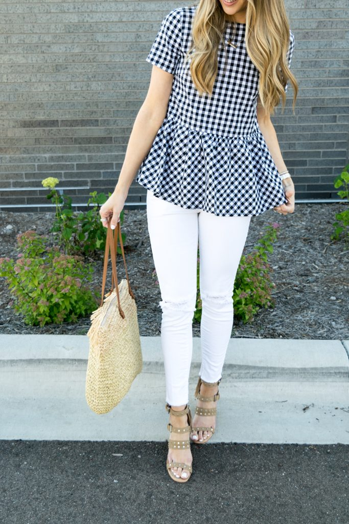 peplum gingham top, top with bows on back, tie up bows top, white jeans outfit, summer outfit ideas, minneapolis fashion blogger, minnesota lifestyle blogger, retro round ray ban aviators outfit, dolce vita effie block heel sandal, budget fashion blogger, affordable fashion blog