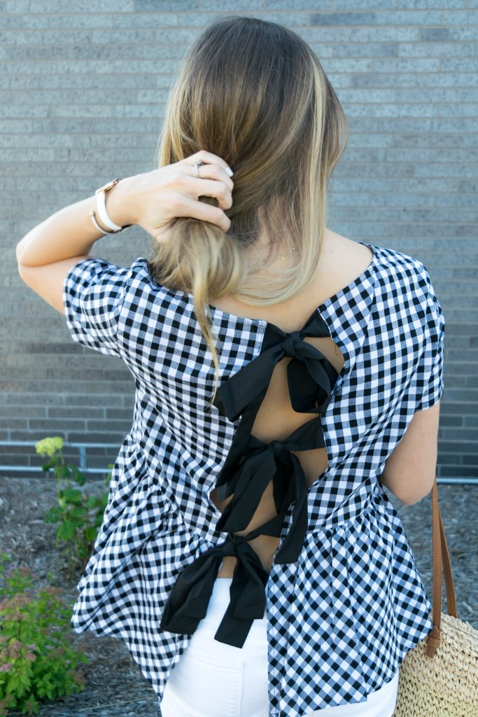 peplum gingham top, top with bows on back, tie up bows top, white jeans outfit, summer outfit ideas, minneapolis fashion blogger, minnesota lifestyle blogger, retro round ray ban aviators outfit, dolce vita effie block heel sandal