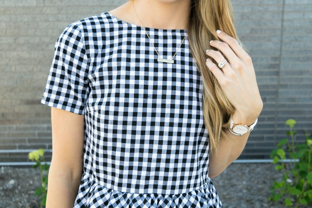 peplum gingham top, top with bows on back, tie up bows top, white jeans outfit, summer outfit ideas, minneapolis fashion blogger, minnesota lifestyle blogger, retro round ray ban aviators outfit, dolce vita effie block heel sandal, budget fashion blogger, affordable fashion blog, brook and york roman numerals bar necklace