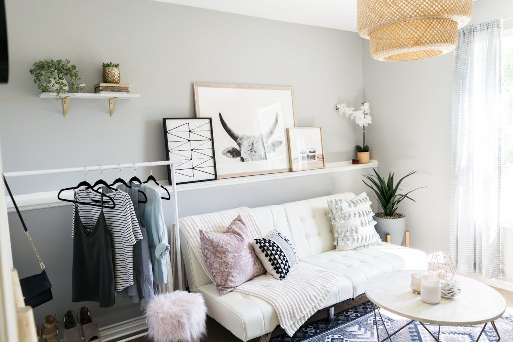 minted art gallery, urban outfitters hana kilim printed rug, west elm origami table, target throw pillows, girly office Inspo, cloffice tour